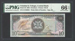 Trinidad & Tobago 10 Dollars 2006 P48 Uncirculated Grade 66