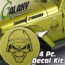 Jeep Wrangler 4 Pc Hood Decal Kit - Army Star Skull Matte Black Sticker TJ LJ JK