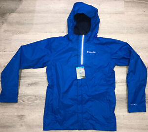 Columbia Blue Timber Pointe Boys Rain Waterproof Jacket Omni-Tech Size XL