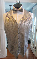 MENS VINTAGE FORMAL VEST IVORY LAME MATCHING BOW TIE SIZE LARGE NB4