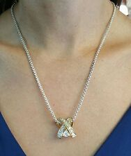 Necklace with White CZs Pendant in Sterling Silver Gold Plated Chain