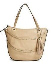 dd0ef926284d GUESS Solene Large Satchel Tote Handbag Beige off White