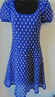 D.EXTERIOR MADE IN ITALY STUNNING ROYAL BLUE & WHITE LACE SKATER DRESS SIZE S 10