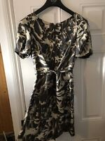 Whistles Silk Printed Dress Front Tie Size 10