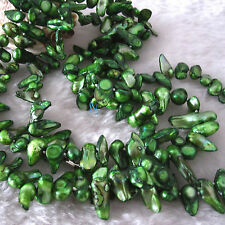 """49"""" 6-7mm Dark Green Baroque Mother Of Freshwater Pearl Necklace"""