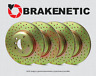 FRONT + REAR BRAKENETIC SPORT Cross DRILLED Brake Rotors (w/BREMBO) 30.50042.21