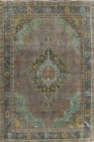 Antique Floral Overdyed Tebriz Hand-knotted Area Rug Wool Oriental Carpet 8'x11'