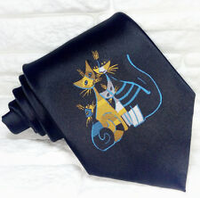 Cravatta nera da uomo gatti 100% seta, stampato, alta qualità
