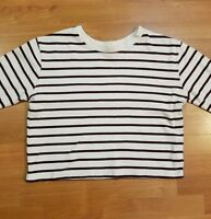 zara w/b collection stripe brown & beige crop sweater women size l