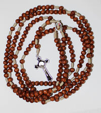 20 Decade Brown Wood Beads Rosary on Strong Cord Holy Rosary of Sacred Mysteries
