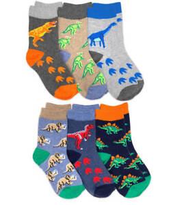 Jefferies Socks Boys Dinosaur Construction Animal Pattern Cotton Crew Ankle 6 PK