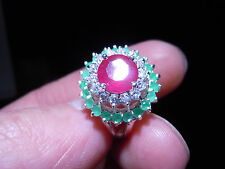High Top Ruby Emerald Gemstones 925 Silver Ring Size 8 - 33 Carats