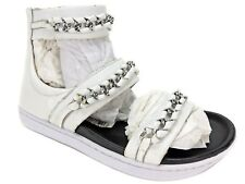 ATELJE 71 Women's Aida Chain Flatbed Sandals White Glazed Gloat US 7.5 M/EU 38.5