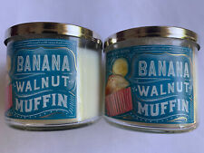 Bath & Body Works Banana Nut Muffin 3 Wick Candles~Set of 2