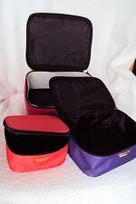 Victorias Secret 3 Piece Pink Purple Orange Cosmetic Makeup Case Zipper Bag NWT