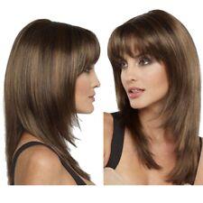 Women Real Natural Medium Straight Hair Wigs BOB Style Cosplay Full Wig w/Bangs