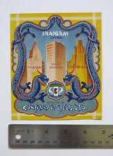 Shanghai China c.1930s Chinese hotel luggage label Cathay Metropole