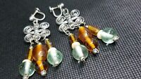Vintage Sterling Silver .925  Chandelier  Dangle Glass Bead Earrings screw back