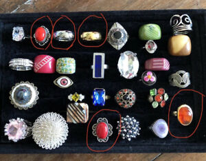 Job Lot Mixed Vintage Costume Jewellery Rings Inc 925 Silver, Sarah Cov Tungsten