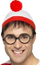 Mens Wheres Wally Official Licensed Hat Glasses Fancy Dress Costume Outfit Kit