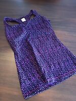 LUCY Purple and Black athletic Tank Top SMALL Built-in Bra fun back!