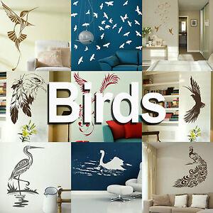 Bird Wall Art Sticker Large Vinyl Transfer Graphic Decal Home Decor Stencil UK
