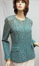 St. John Knit NWT COUTURE Patina Blue Gold STUD JACKET SZ 4 $1795