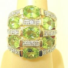 Very Large Beautiful Peridot 14k on Sterling Silver .925 Cocktail Ring size 6.75