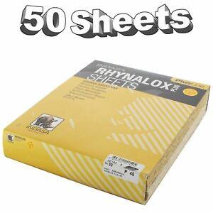 Indasa Rhynalox Plusline Production Paper P40 grit Sand Paper Sheets Pack 50