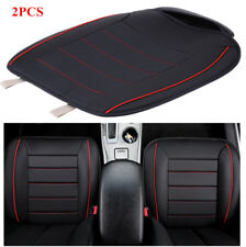 2 Pcs Front Seat Cushion Pad Mat for 5-Seat Car Black with Red Wire PU Leather