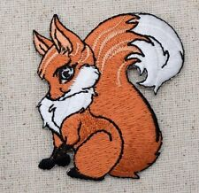Sitting Red Fox - Bushy Tail - Wild Animals - Iron on Applique/Embroidered Patch