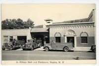 RPPC Village Hall Firehouse Firefighting NAPLES NY Ontario Real Photo Postcard