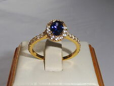 Ladies 925 Sterling Silver & 18 Carat Yellow Gold Tanzanite White Sapphire Ring