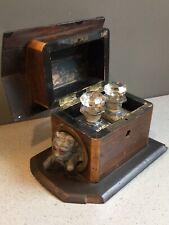 Antique Vanity Gilt Crystal Perfume Bottles Wooden Box Hinged Dog House