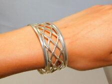 "Sterling Silver Mexico Open Weave 1"" Wide Cuff Style Bracelet 25.5 Grams 10i 3"