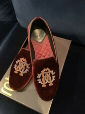Roberto Cavalli Burgundy Velvet Men Loafers