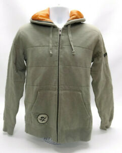 QUIKSILVER OLIVE GREEN/BEIGE ZIPPERED QUILTED HOODIE - SIZE ADULT SMALL - EUC