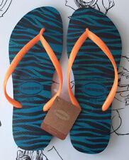 Havaianas Slim Animals Blue & Orange Flip Flops Womens 39-40 UK 7 NEW with tags