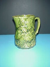 Antique Majolica Green Pitcher Floral Pansy Raised Design