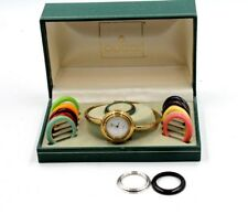 GUCCI LADIES BANGLE WATCH/BOX GOLD PLATED 11/12 W/INTERCHANGEABLE BEZELS-NR #735