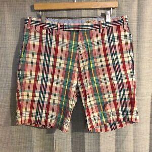 Ralph Lauren POLO Authentic India Madras Classic Fit Plaid Shorts Size 34