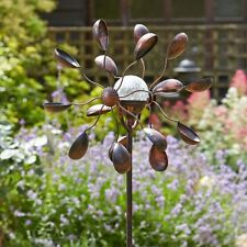 Metal Garden Wind Spinner with Crackle Globe Solar Light Garden Feature Display