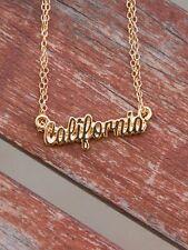Gold California Cursive Chain Necklace