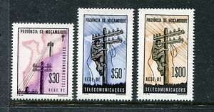 Mozambique RA65-RA67, MNH, Lineman on Pole and Map of Mozambique 1965. x23276
