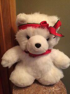 Vintage 1987 Dayton Hudson Miss Santa Bear plush stuffed animal Christmas white