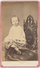 1860s Antique Victorian CDV Carte de Visite Photo Prcarious Little Girl in Dress