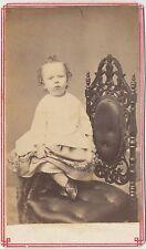 1860s Antique Victorian CDV Carte de Visite Photo Precarious Little Girl - Dress