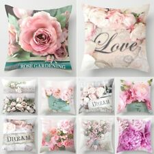 18' Sofa Pillow Case Rose Peony Tulip Flower Cushion Cover Decorative Covers