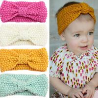 Cute Baby Wool Fabric Bowknot Headband Knitted Girls Elastic Hair Bands Turban