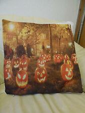 "Gothic Cushion Cover, 18"" square, Pumpkins/ jackolanterns"